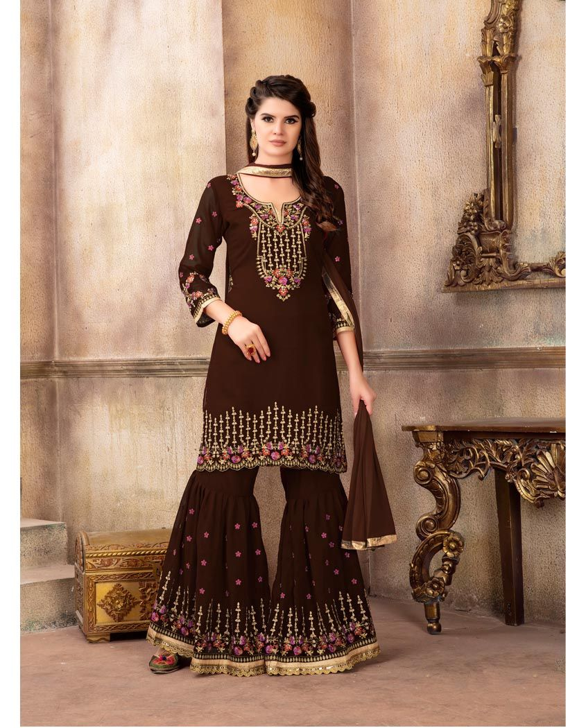aa6f43431 Brown Embroidered Georgette Sharara Suit in 2019