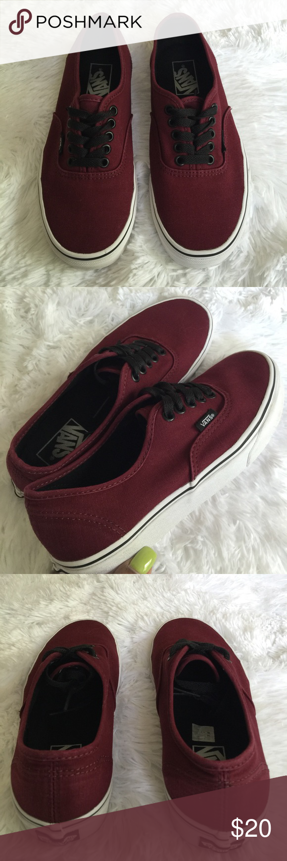 """Vans Authentic Kids Sneakers Excellent Condition / Only worn a couple of times and looks brand new / Canvas Upper & a Vans' Classic """"Off The Wall"""" Sole / Burgundy Color Vans Shoes Sneakers"""