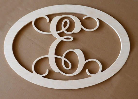 24 Inch Vine Connected Single Monogram Letter Oval With Border Unfinished Wooden Wall Letter Initial Door Hanger Wooden Wall Letters Monogram Wall Hangings