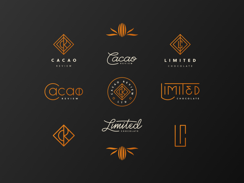 Cacao Review Brand And Elements Chocolate Logo Cookies Branding Logo Design