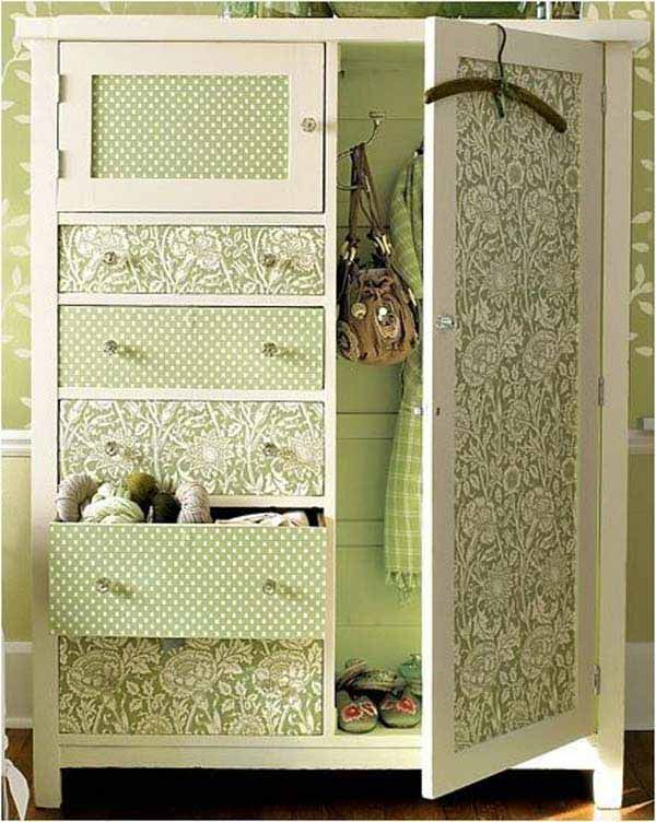 diy furniture makeover. 27 Cool DIY Furniture Makeovers With Wallpaper Diy Makeover A