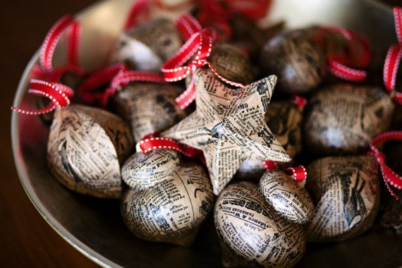 newpaper print ornaments ~ love the old look - Newpaper Print Ornaments ~ Love The Old Look Merry & Bright