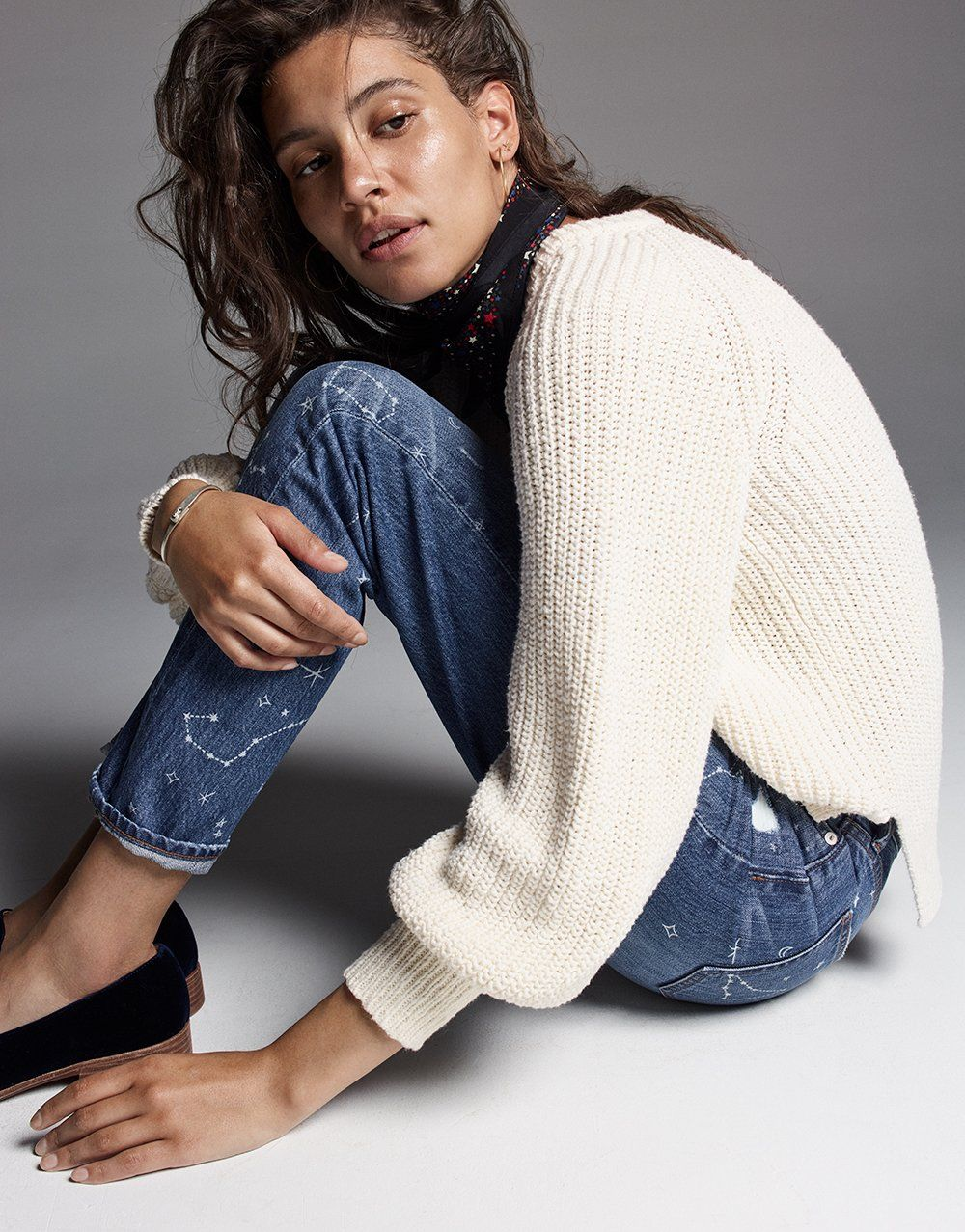 0e1c57971b madewell balloon-sleeve sweater worn with the perfect vintage jean + silk  bandana.