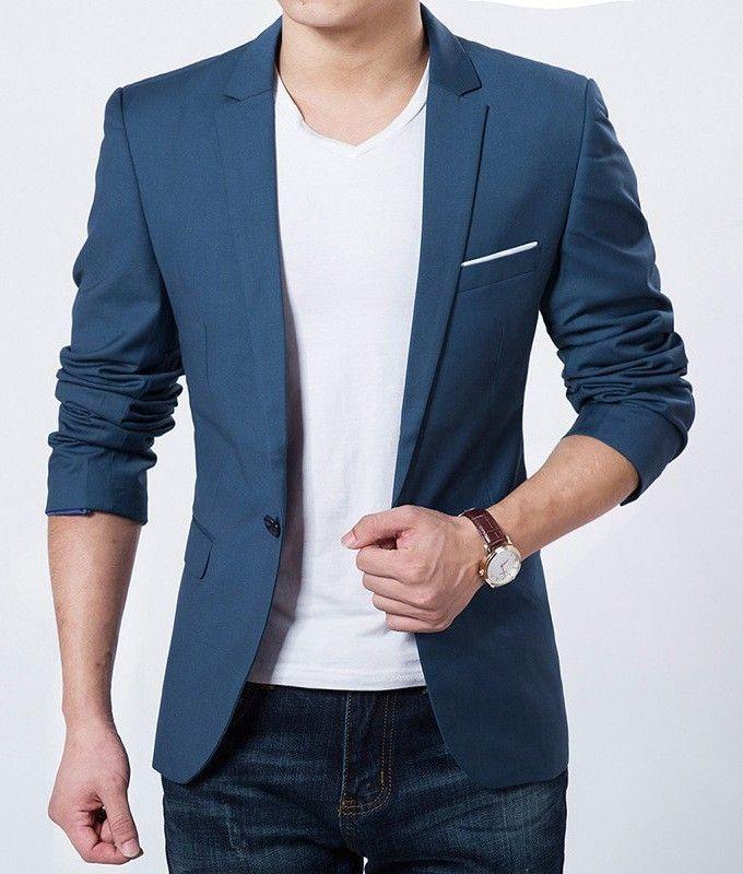 Blazer de fato slim de homem azul claro · Moda e Acessórios