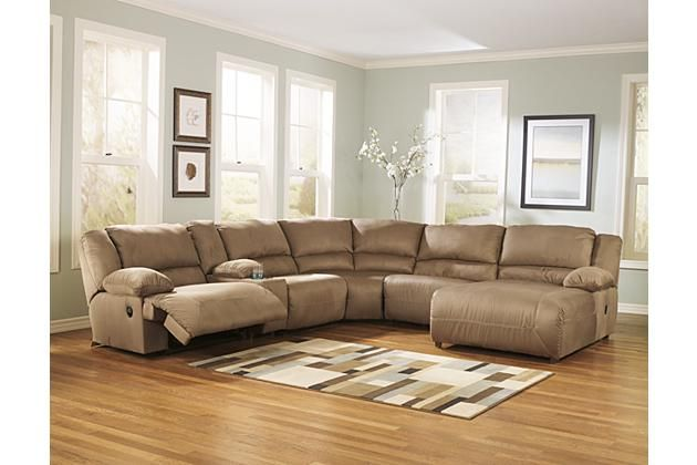 Tan leather sectional recliner sofa with chaise lounge for ...