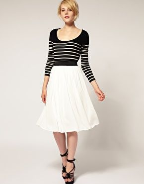 ASOS plain chiffon full midi skirt; paired with a great stripped scoop-necked top.