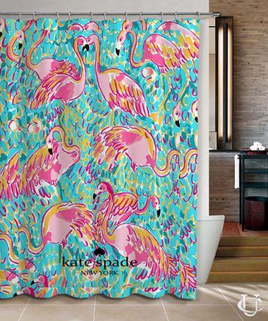 New Hot Flamingos Cute Pattern Kate Spade Shower Curtain Cheap