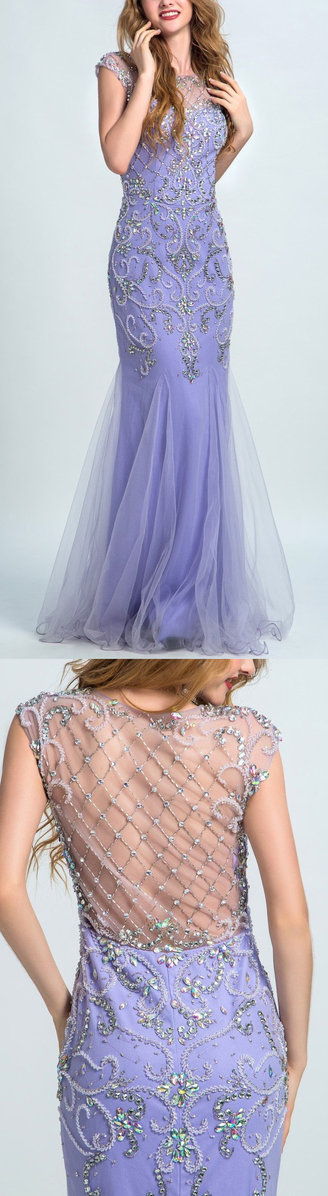 Mermaidtrumpet prom evening dresses long lavender dresses with side