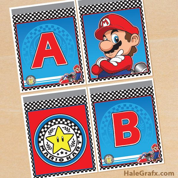 Click here to download a FREE Printable Mario Kart Alphabet Banner – Mario Kart Party Invitations