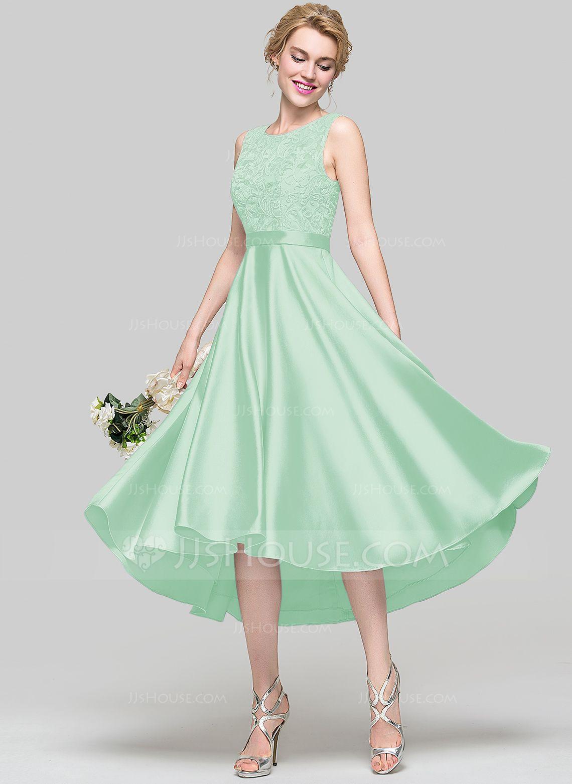 8e5a2e832fb3 A-Line/Princess Scoop Neck Asymmetrical Satin Bridesmaid Dress (007090173)  - Bridesmaid