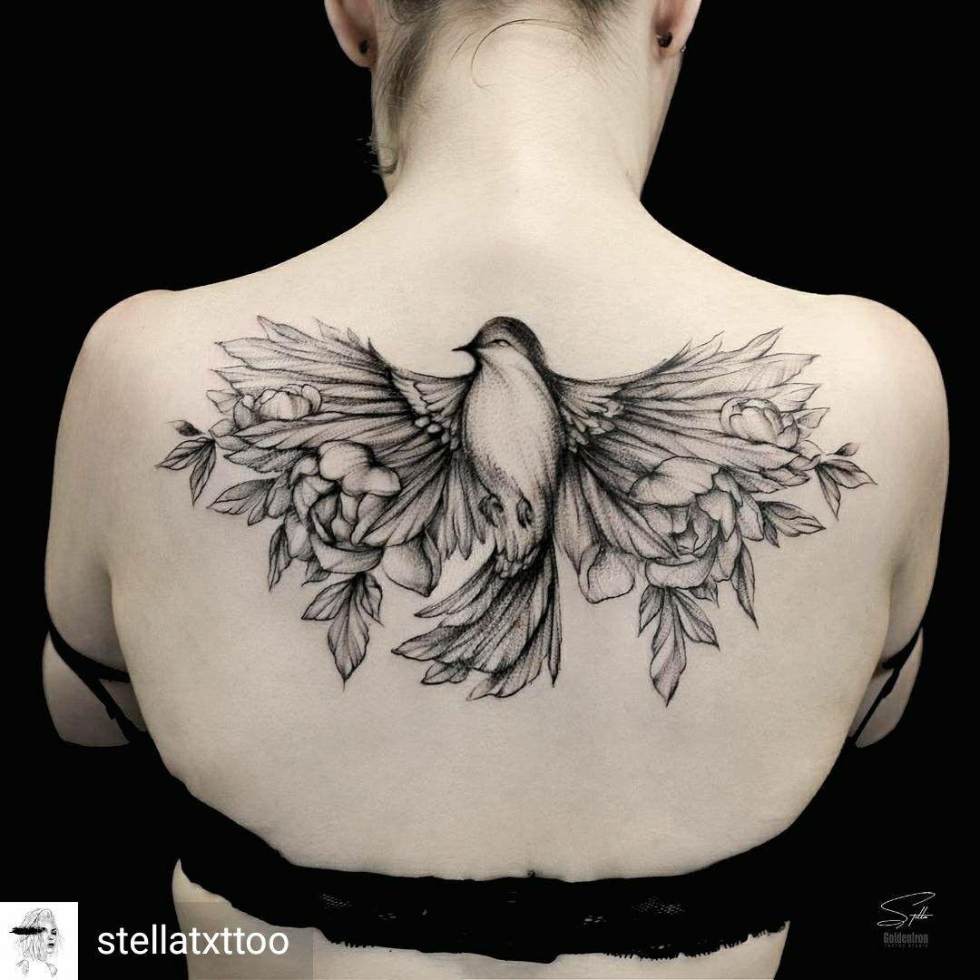 Beautiful Bird Tattoo On Upper Back Tattoos Eagle Tattoos