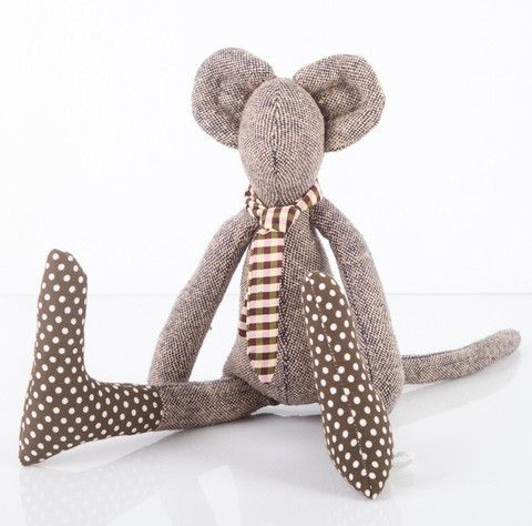 Timo-Handmade fabric mouse soft toy in brown spotted boots #timohandmade #handmade #softtoy #mouse