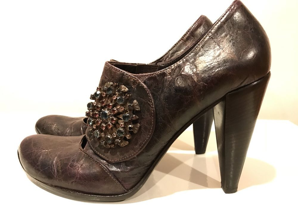 023342ce3a0 ORORO VINTAGE WOMENS ANKLE SHOES WITH BIG MULTICOLOR STONE BROOCH ...