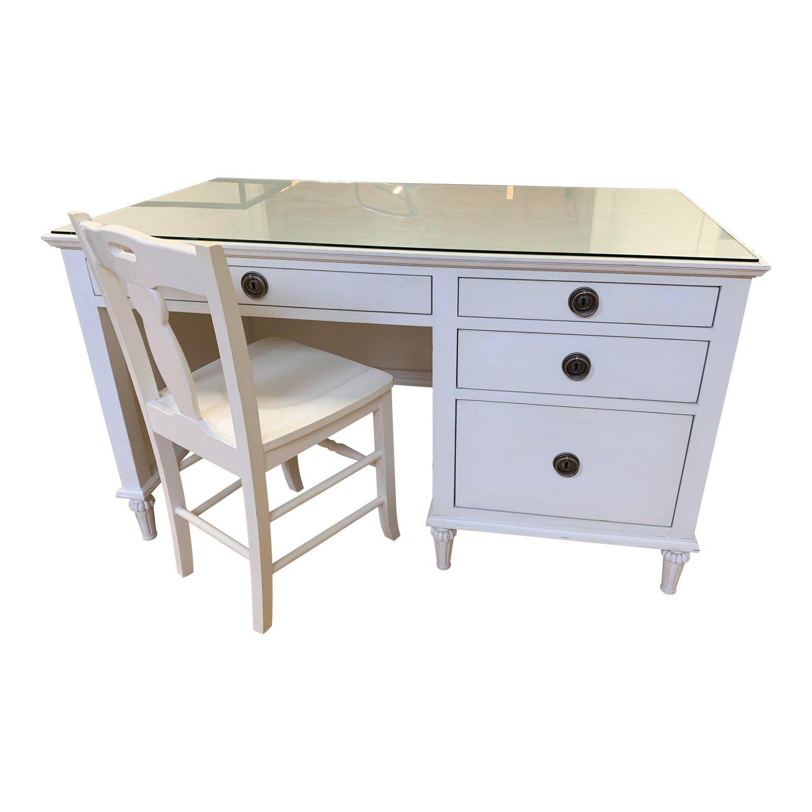 Restoration Hardware Maison Antique White Desk Chairish In 2020 White Desks Restoration Hardware Antique White Desk