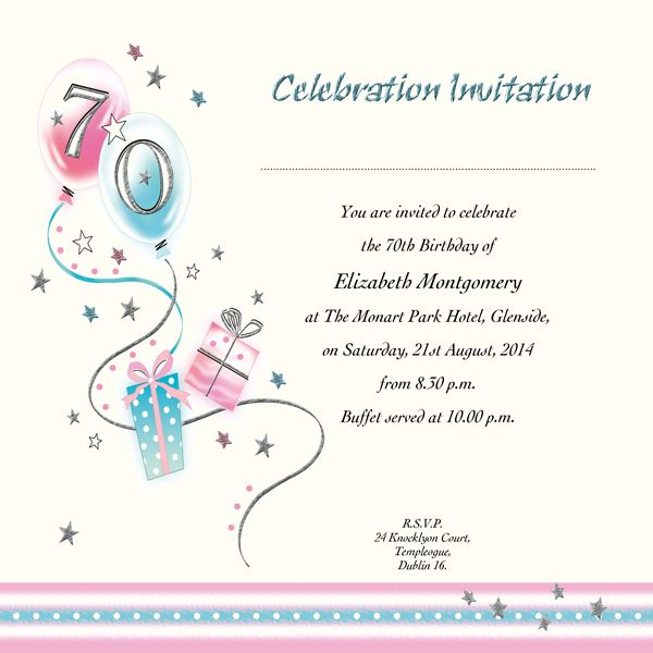 70th birthday invitations printable | image enlargement | 70th, Birthday invitations