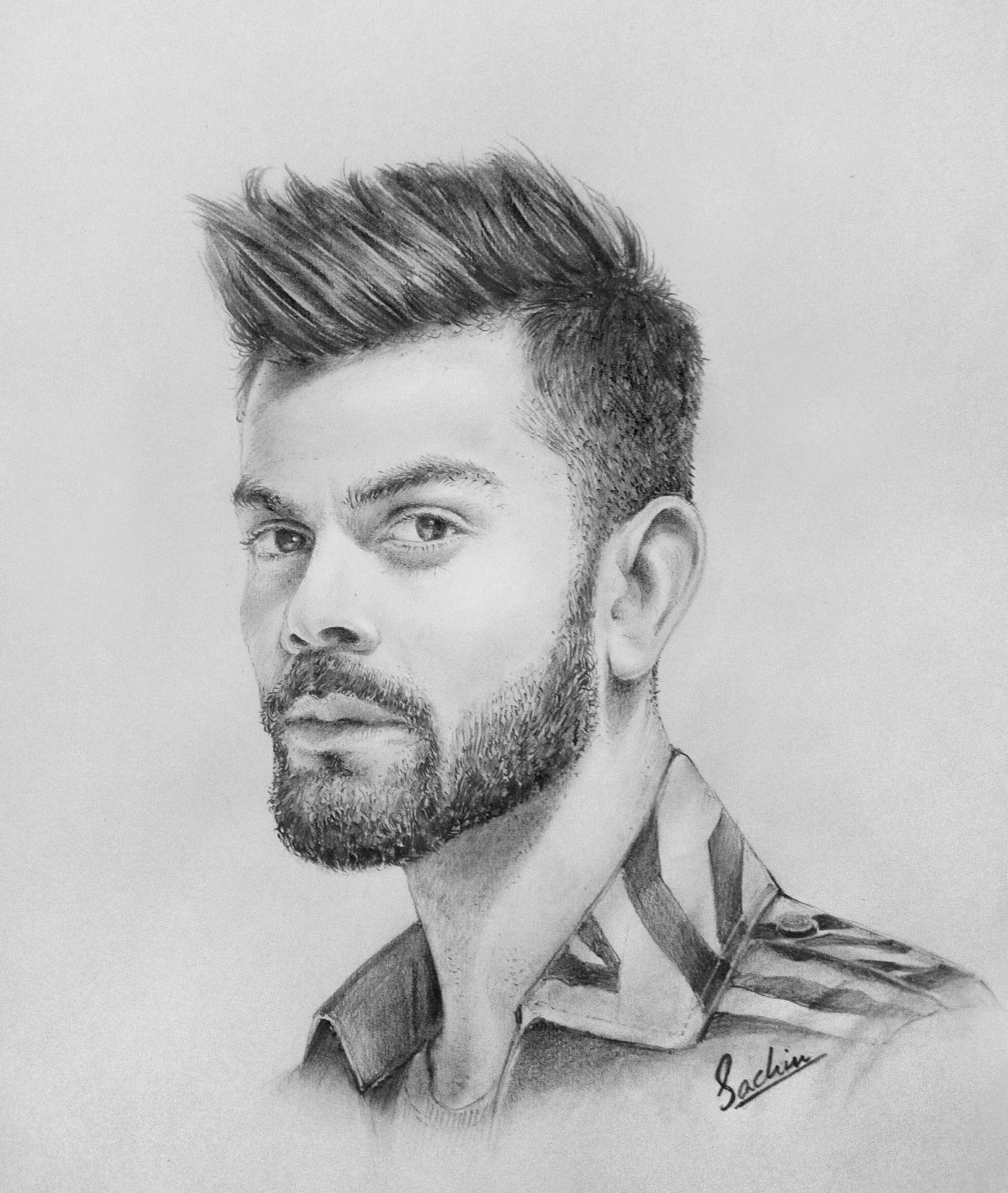 Virat Kholi Pencil Drawing Viratkohli Photovsdrawing