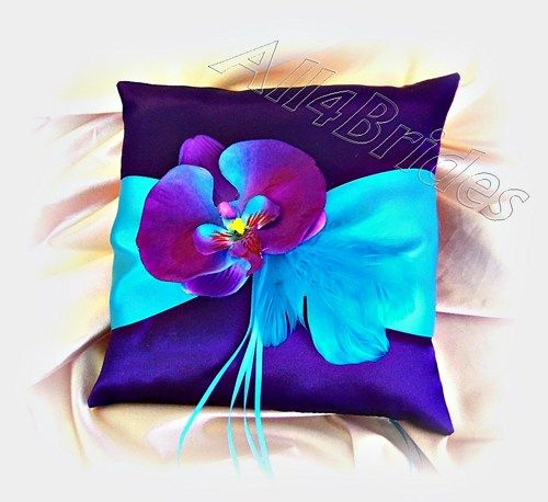 Turquoise and purple orchid wedding ring bearer pillow
