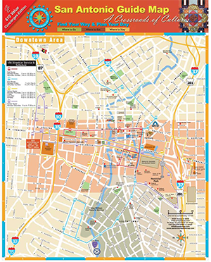 san antonio river map Map Of San Antonio Attractions Detailed Real To Scale Street san antonio river map
