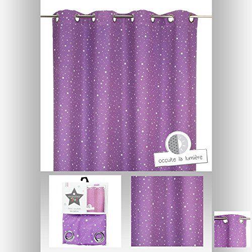 Rideau occultant violet étoilé pour chambre enfant Atmosp