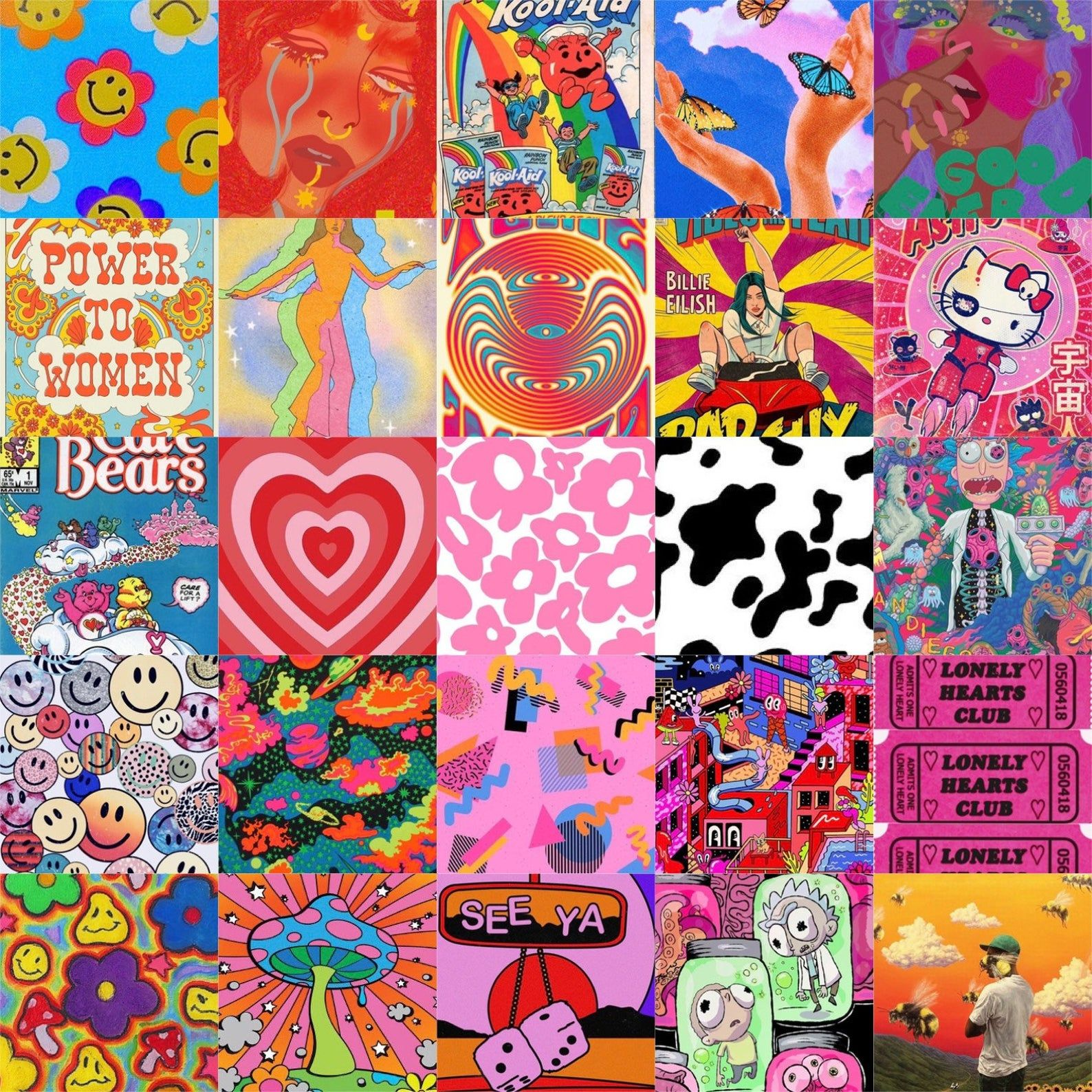 Indie kid / hippie trendy wall collage digital photos 75pc (Contact Me For Link, no physical photos)