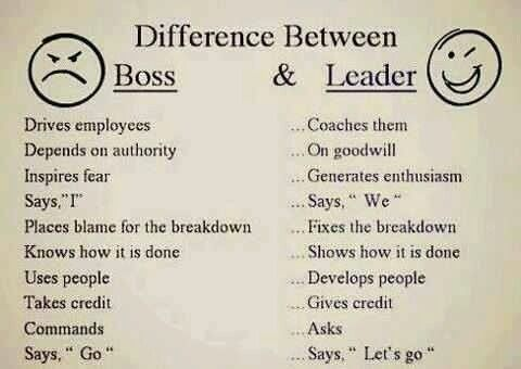 Boss Vs Leader Boss And Leader Work Quotes Leadership