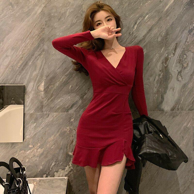 428fe4f3 Women's V-neck Long Sleeve Bodycon Dress Nightclub Sexy Slim Package Hip  Dresses #affilink