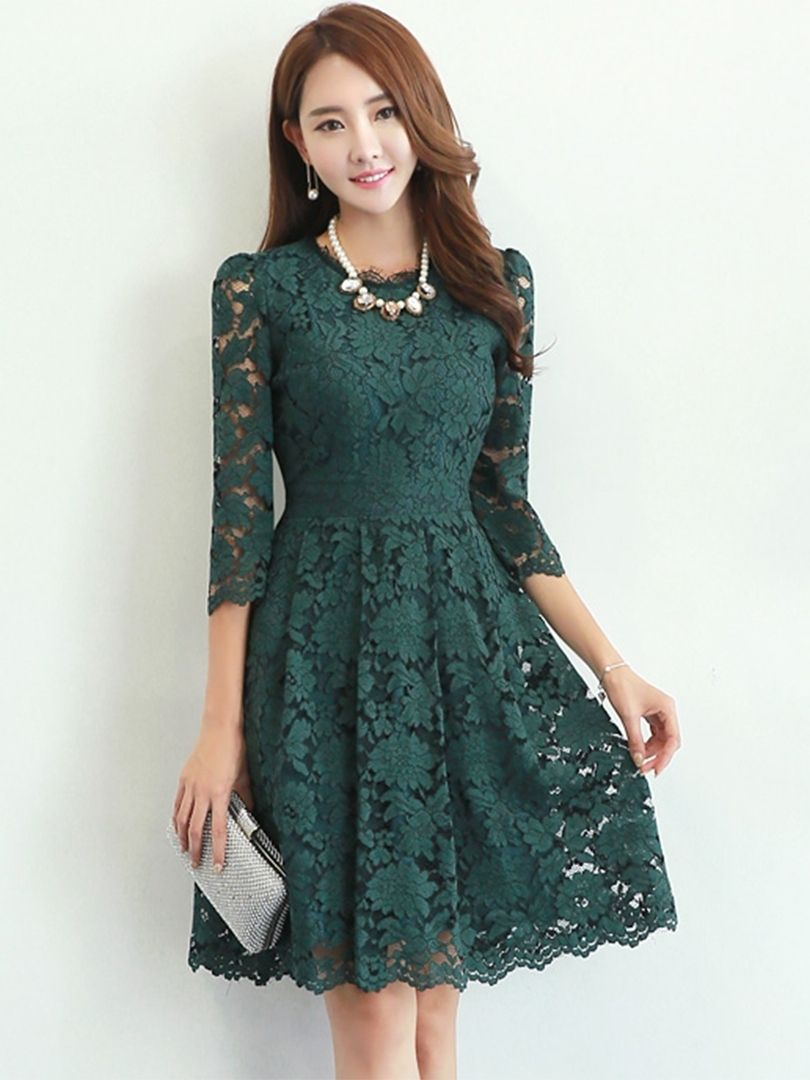 Floral Round Neck 3 4 Sleeve Lace Dress Women Lace Dress Lace Dress White Dresses For Women