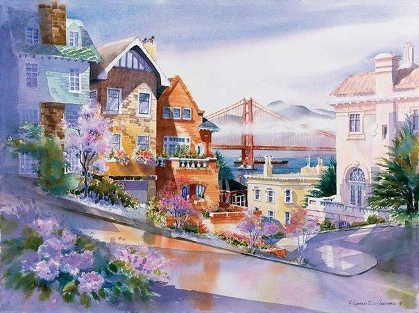 Richard Salvador Hernaez_watercolor paintings_city-art_акварель_город
