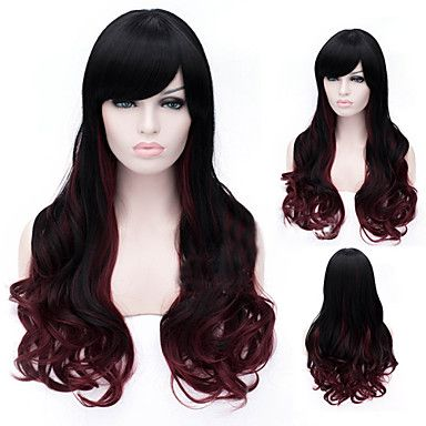 29 95 Synthetic Wig Deep Wave Style Capless Wig Natural Black Synthetic Hair Wig Side Bangs Hairstyles Long Hair Styles Synthetic Wigs