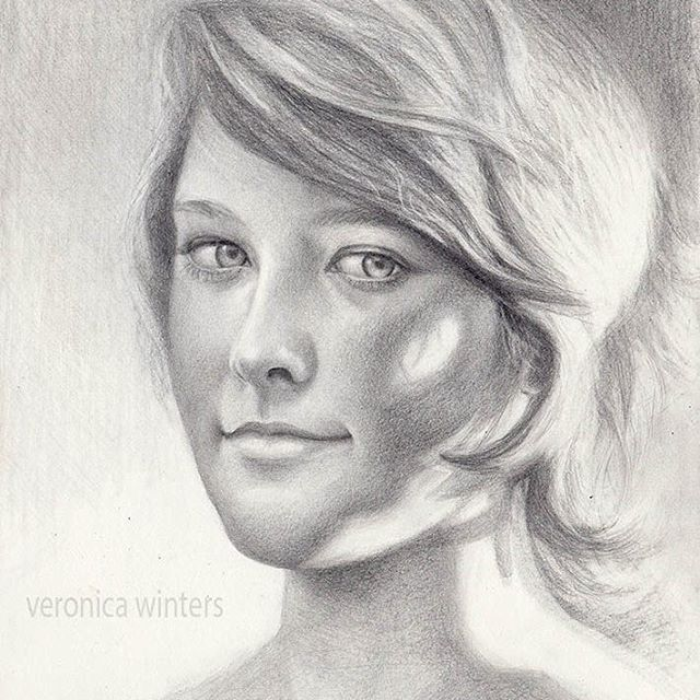 Veronica Winters, portrait drawing on paper