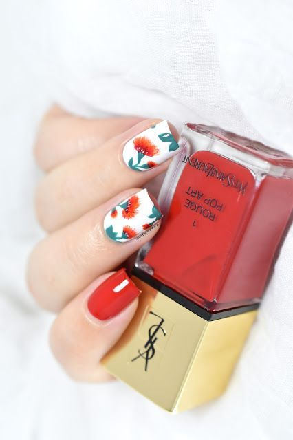Fiery Flowers Nail Art Video Tutorial Floral Nails Valentines