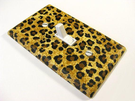 cheetah light switch plate $6.00 etsy