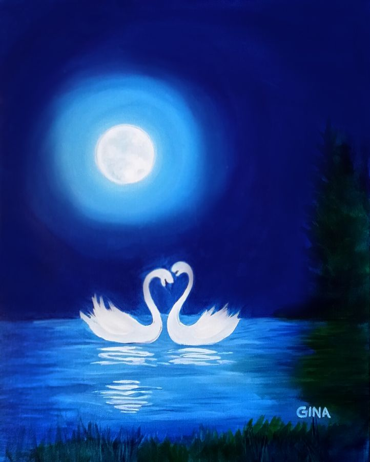 Swans By Moonlight >> Moonlight Swans Paints Uncorked Paintings Moon Swan Celestial