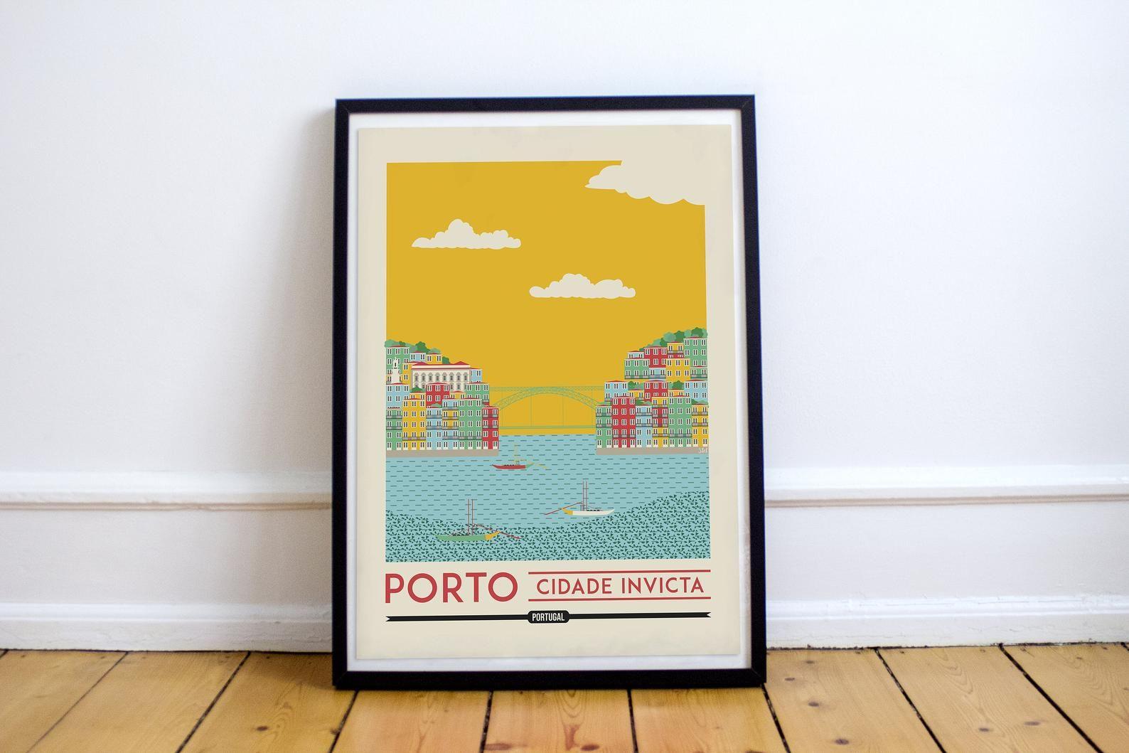 Porto Portugal Skyline Porto Print Porto Portugal Art Porto Etsy Porto Portugal Vintage Travel Posters Porto