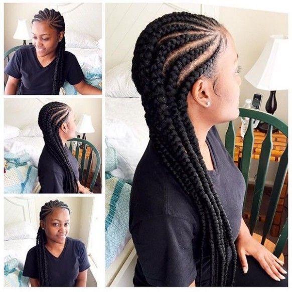 Straight Back Braids Hairstyle di 2020 | Gaya rambut, Rambut