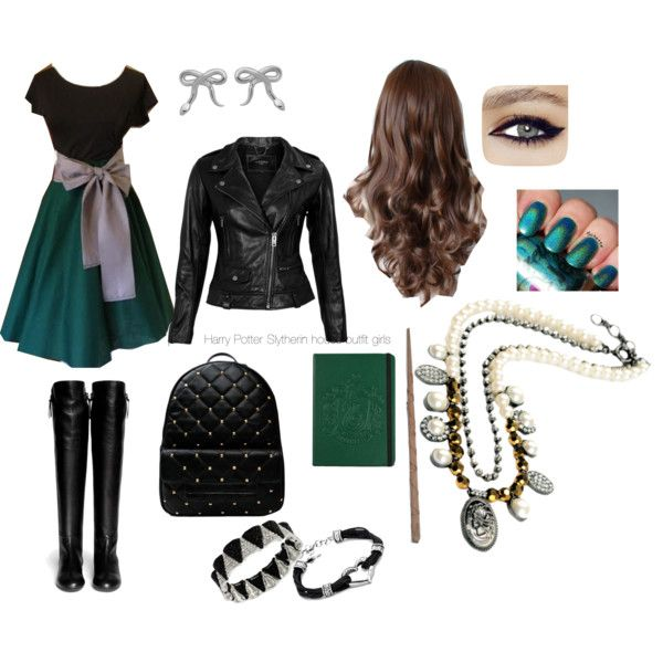 Harry Potter Slytherin outfit girls by pinkypie8871 on Polyvore featuring  VIPARO, Giuseppe Zanotti, Meadowlark