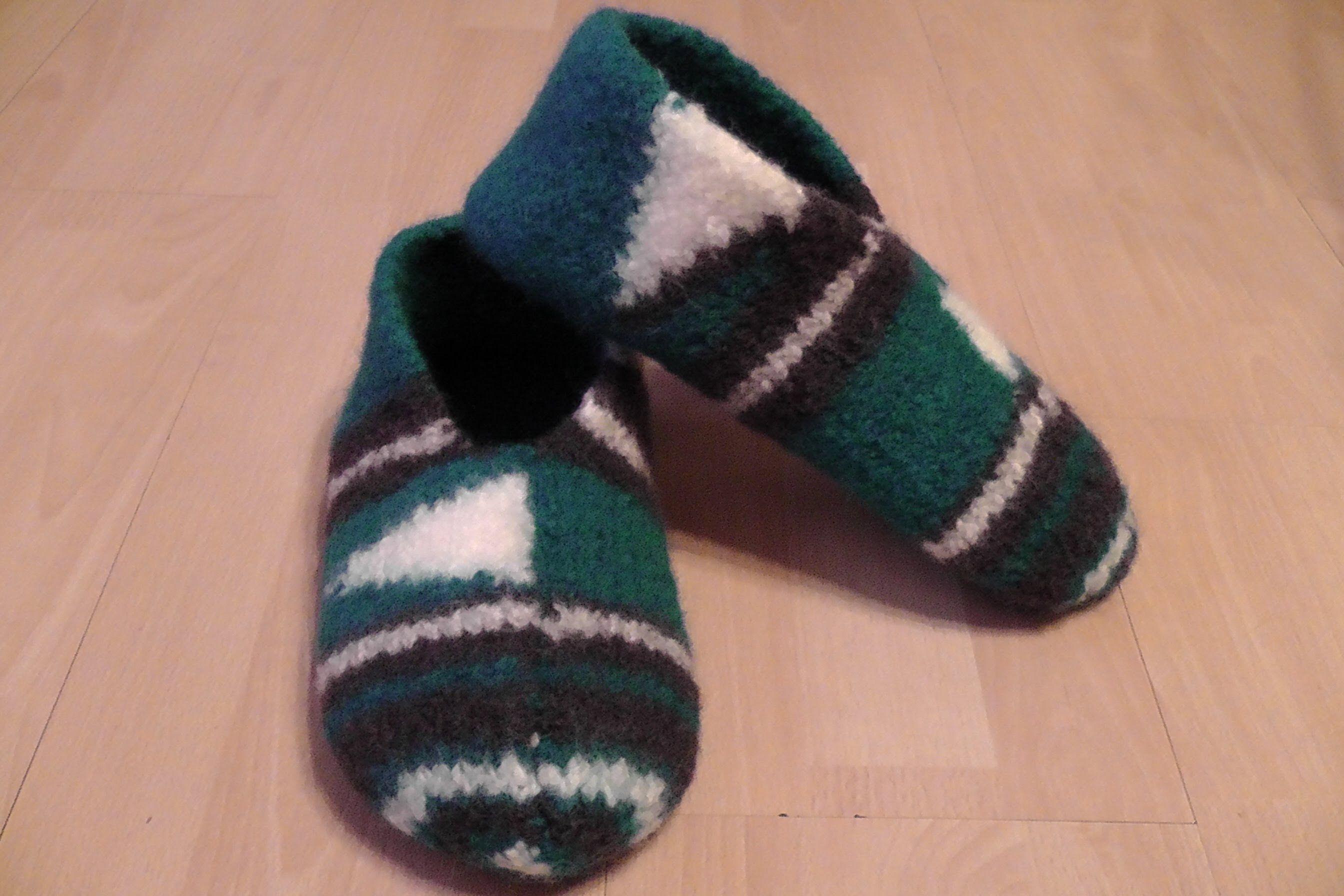 Pantoffeln, Hausschuhe für Männer stricken und filzen - Gr. 42 / 43 ...
