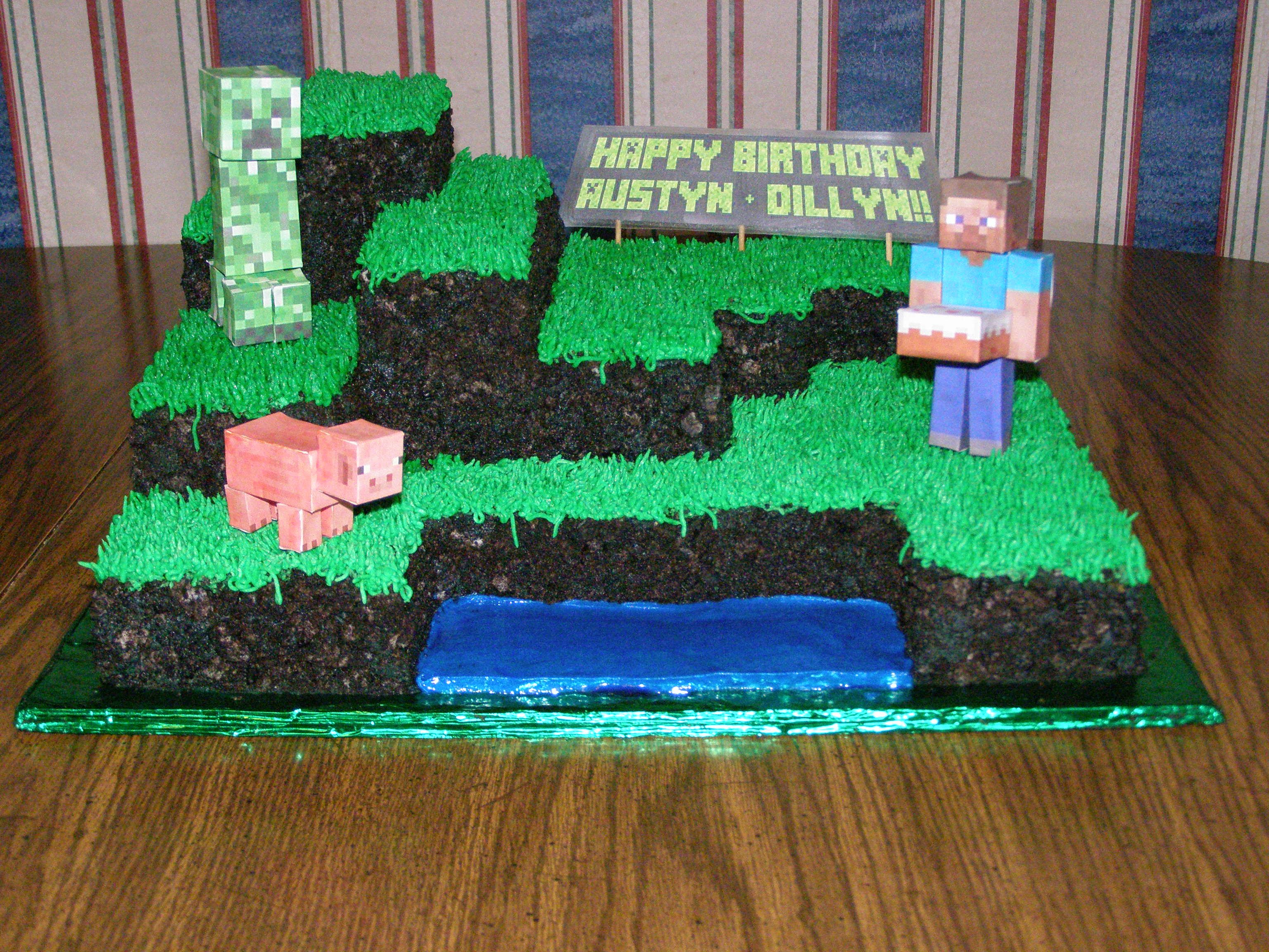 Minecraft Landscape Birthday Cake With Steve Pig Cake And Creeper
