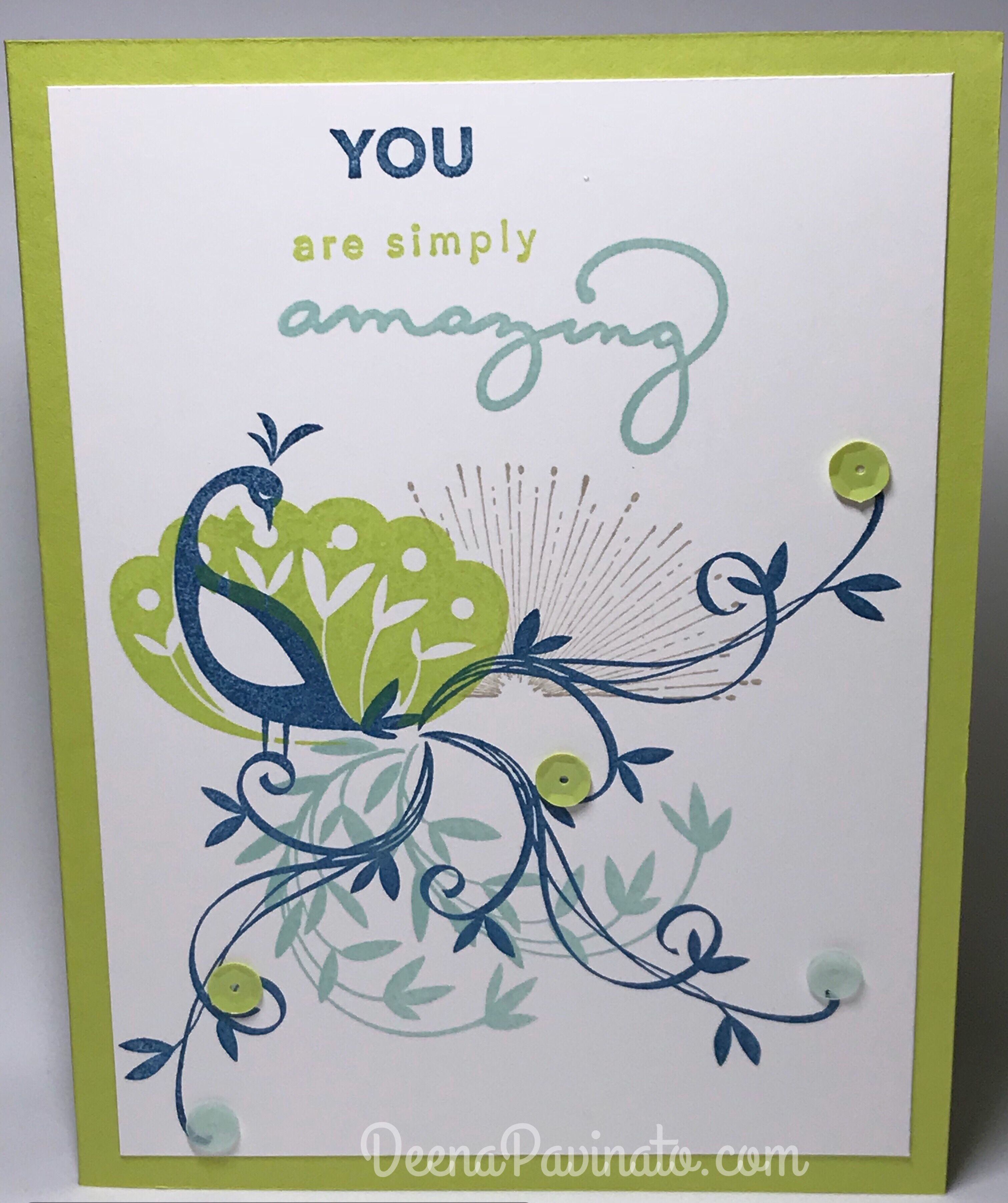 beautiful peacock and amazing you stamp sets used from