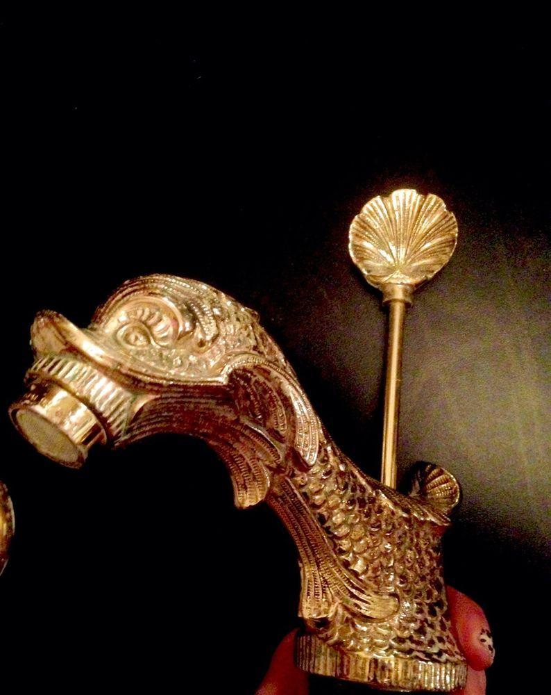 Ornate Gold Dolphin Sink Bath