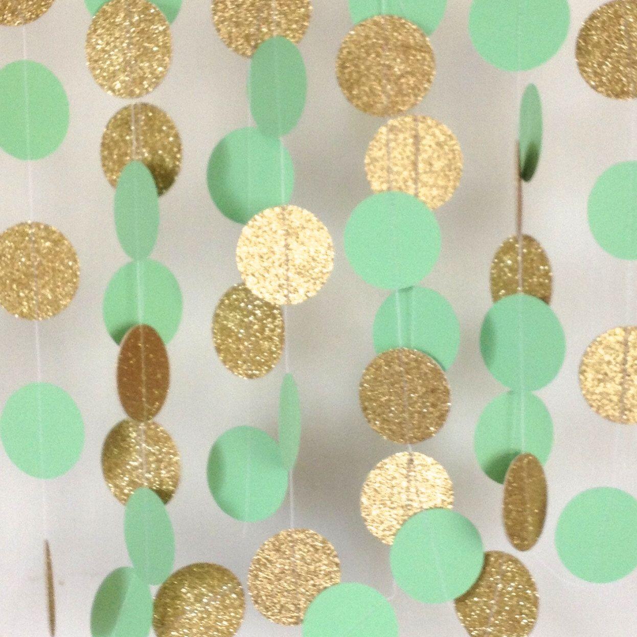 Uberlegen Mint Green And Gold Garland, Paper Garland, Mint Garland, Bridal Shower  Garland,