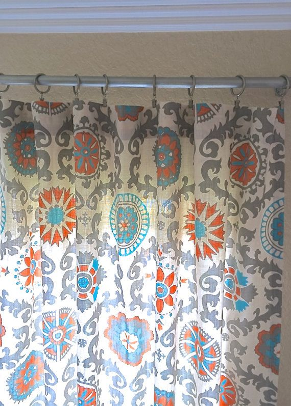 Orange And Turquoise Suzani Curtain Panels 25 By Thebluebirdshop Orange And Turquoise Custom Drapery Coordinates Pillow