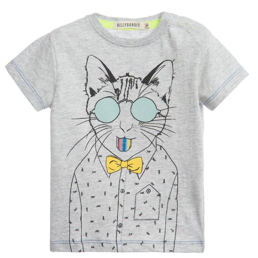 Baby Boys Grey Cat Print T Shirt Billybandit Boy Billieblush