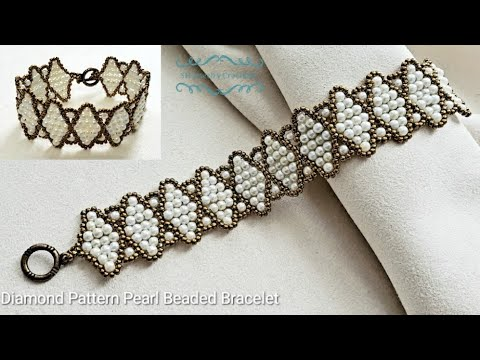 How to make a Diamond Pattern Beaded Pearl Bracelet. Beads Jewelry Making. Beading tutorials.
