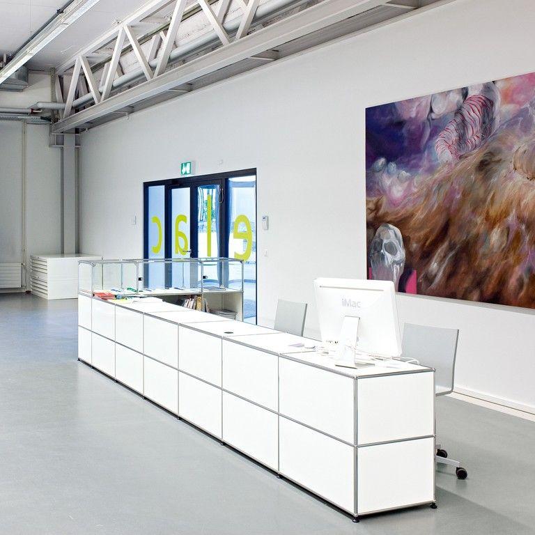 white usm long reception desk reception area pinterest. Black Bedroom Furniture Sets. Home Design Ideas