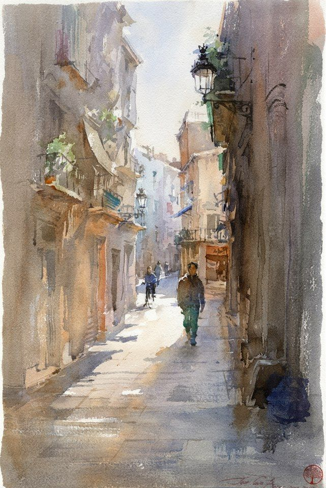 Igor Sava Barcelona 36x51 Watercolor Jd Peinture Paysage