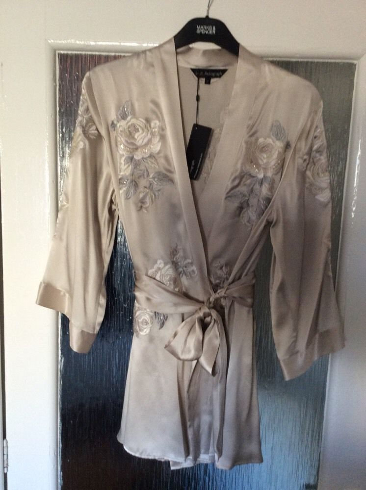 M&S ROSIE AUTOGRAPH ladies dressing gown 100%SILK with EMBROIDERY ...