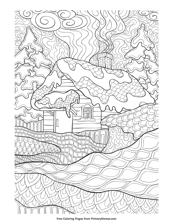 zentangle winter cabin coloring page • free printable