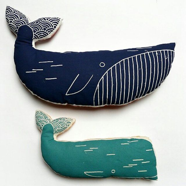 Screen printed pillow blue WHALE | recycled vintage fabrics | MERMADE | cushion, pillow, soft toy | SEA