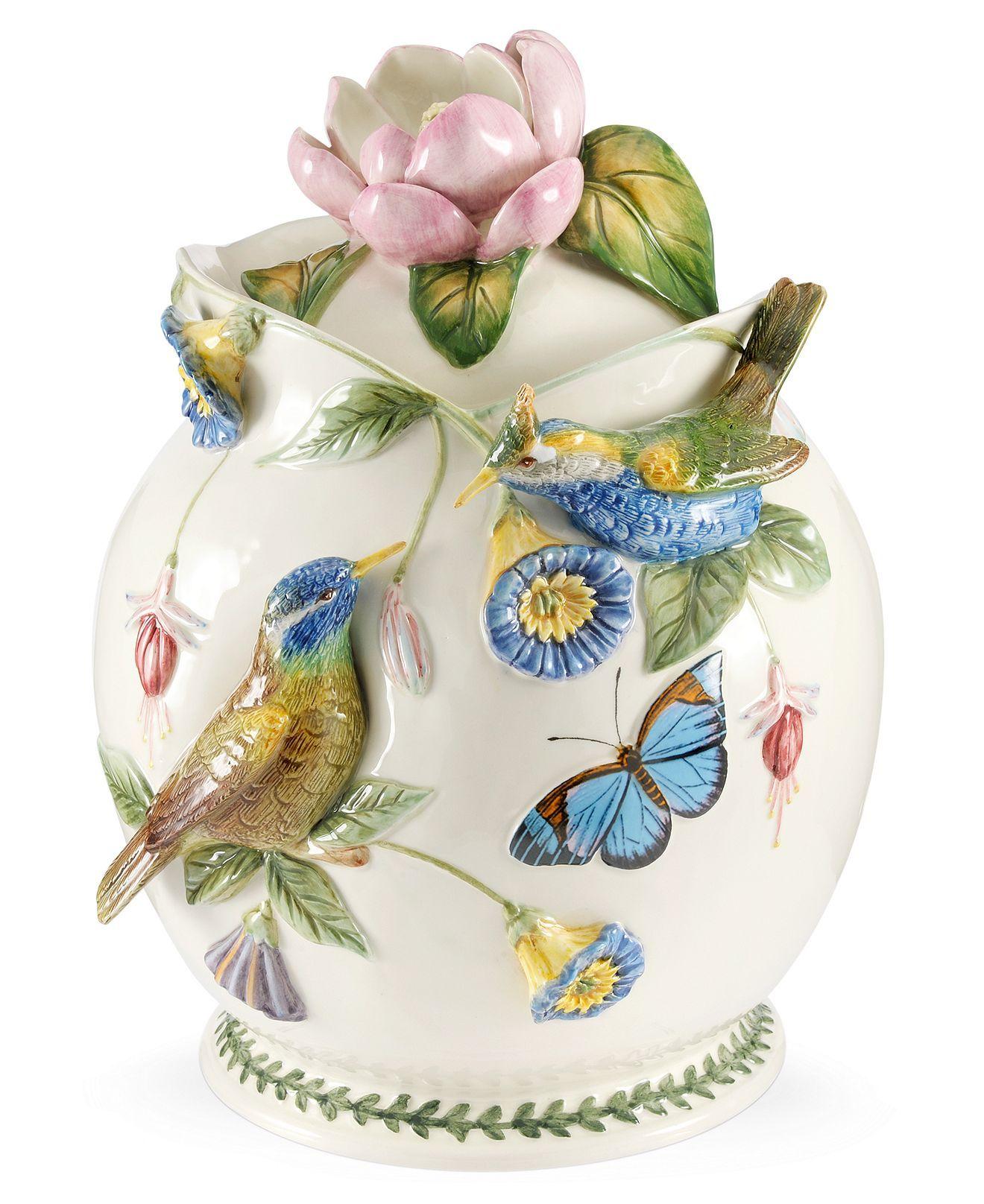 Portmeirion Serveware Botanic Hummingbird Figural Cookie Jar